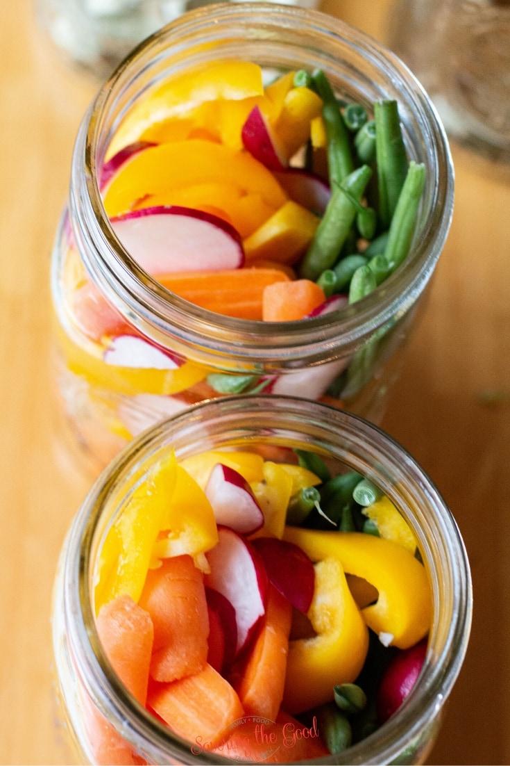 vegetables in a quart jar for sous vide pickled vegetables