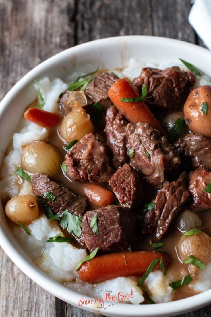 sous vide version of the classic Irish Beef and Guinness Stew.