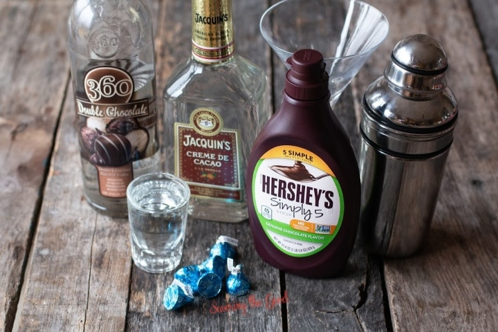 horizontal image of chocolate martini ingredients