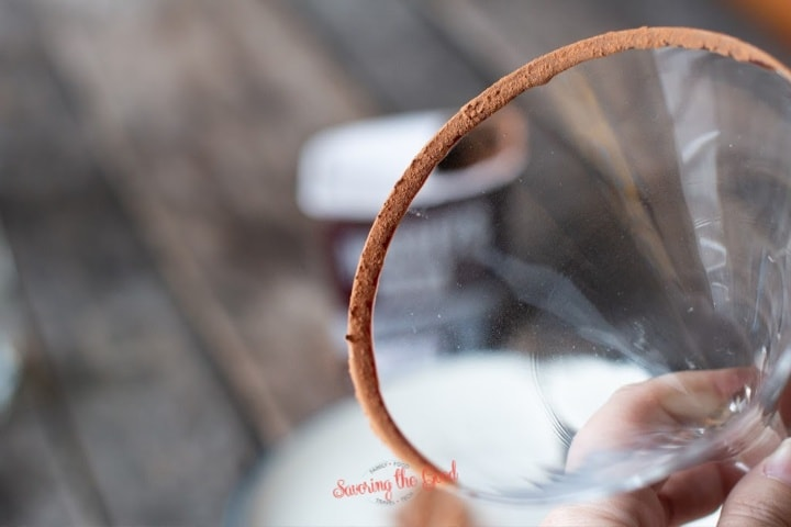 detail shot of chocolate rimmed martini glass