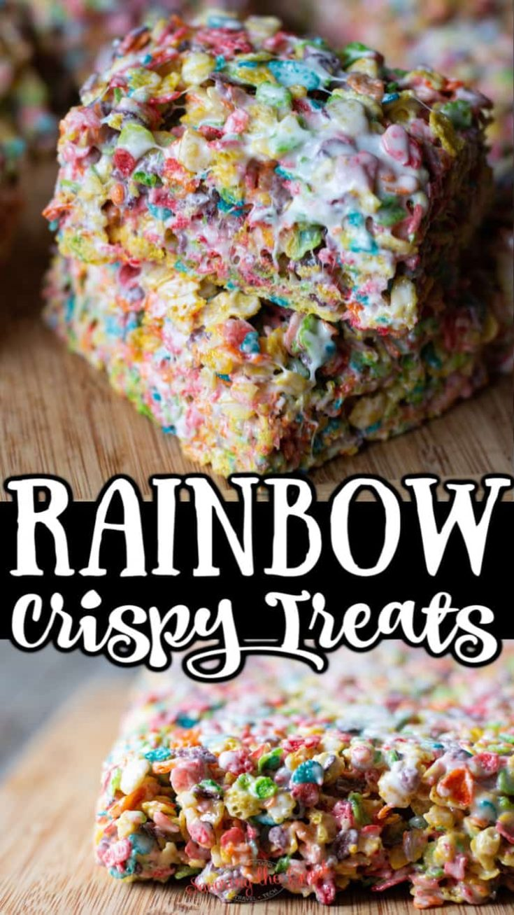 Fruity pebbles treats are the rainbow version of your favorite marshmallow treats. Perfect for your rainbow party or your bake sale fundraiser, these no-bake treats have 4 simple ingredients and are ready in under 30 minutes.