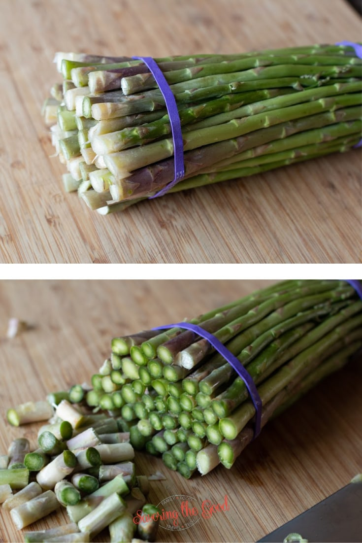 showing before and after on how to trim asparagus