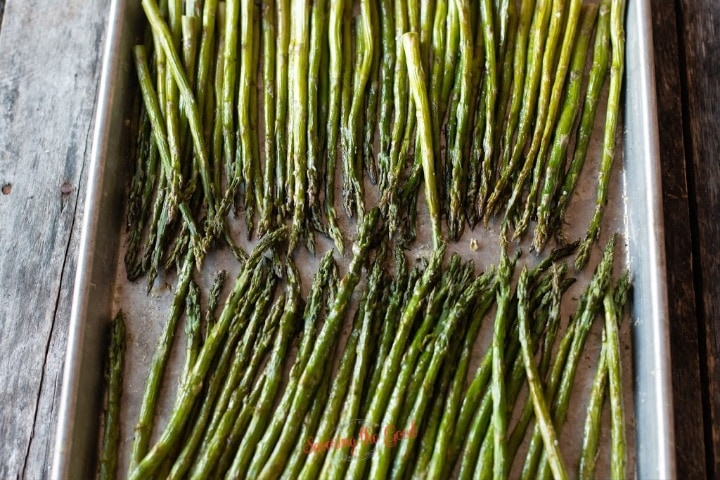 horizontal image of oven roasted asparagus