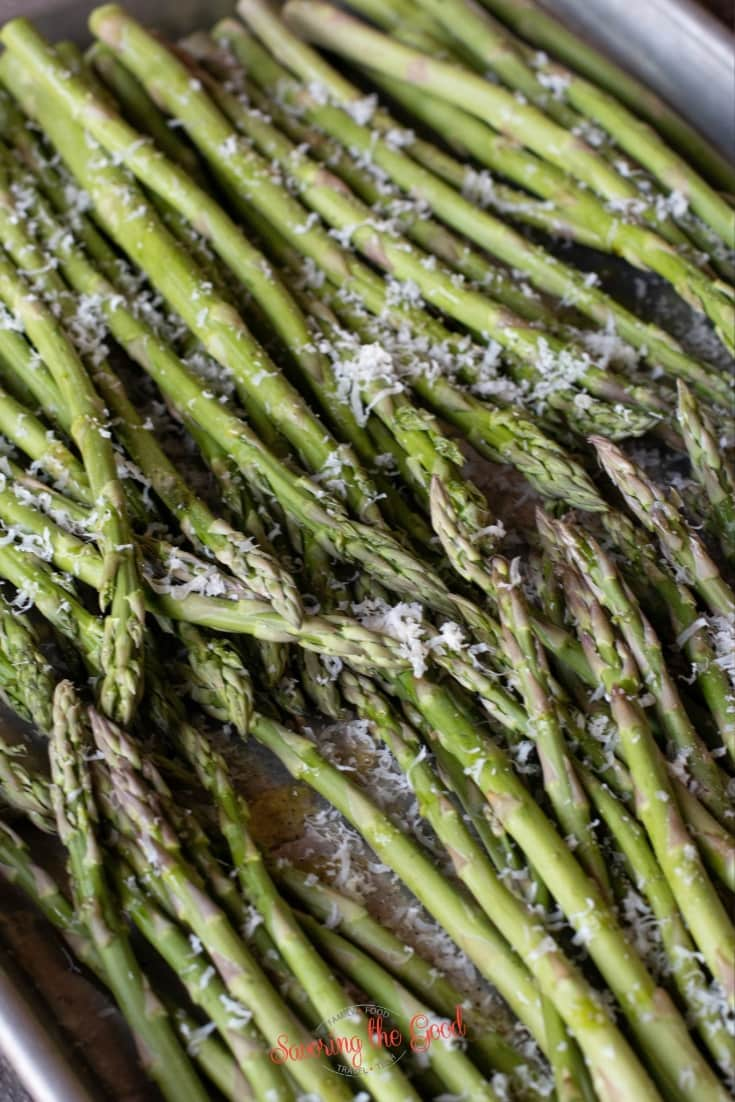 asparagus on a sheet pan for roasting
