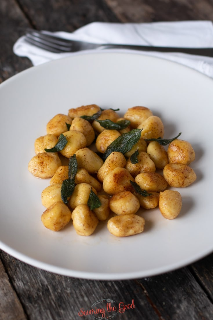 gnudi in a browned butter sauce with sage