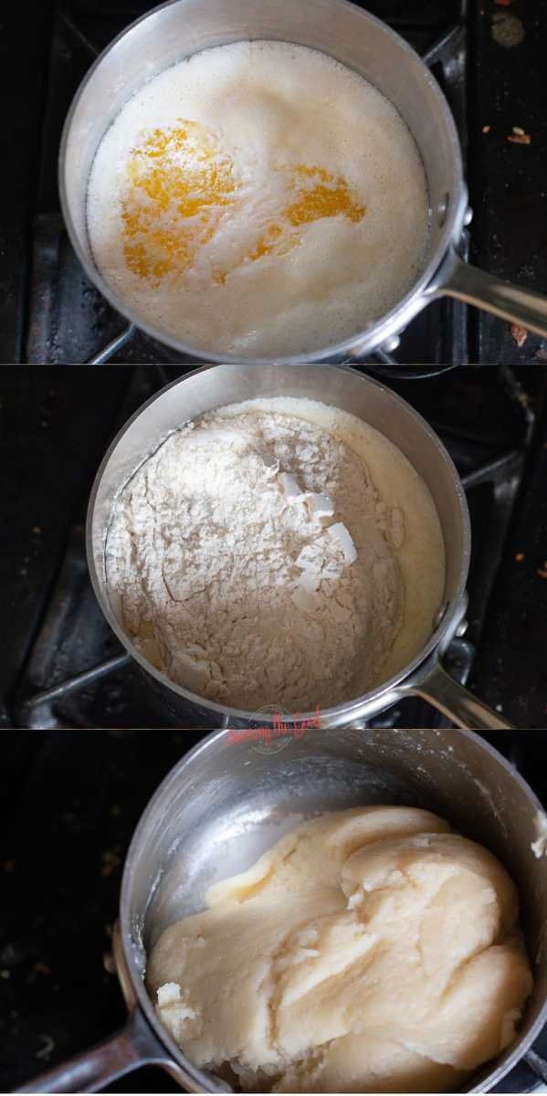3 steps of making choux paste dough in a pan