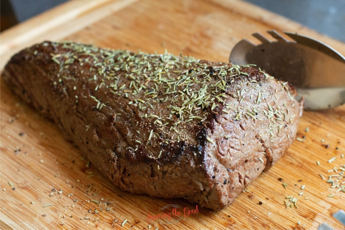 preseared sous vide beef tenderloin with extra rosemary
