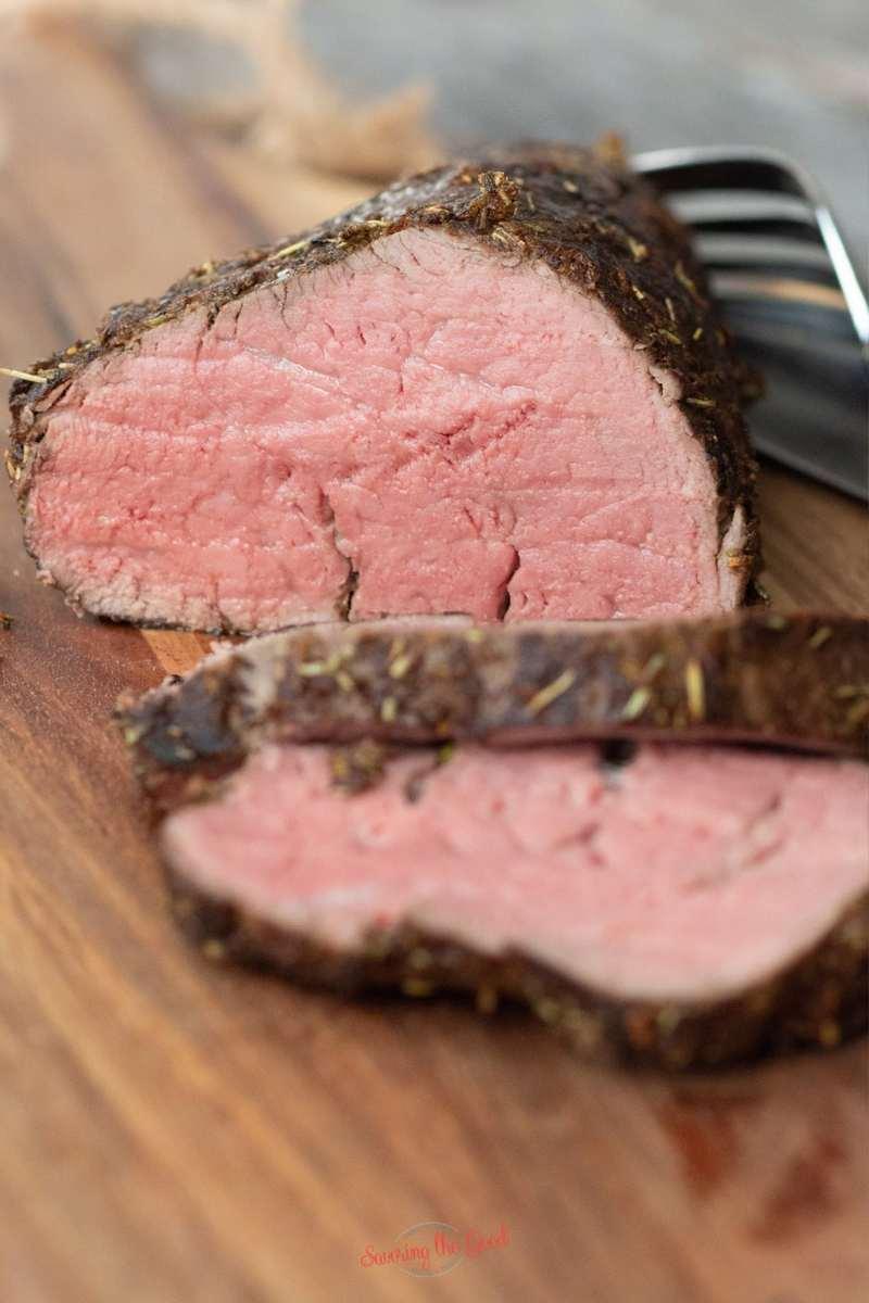 sous vide beef tenderloin sliced showing internal texture