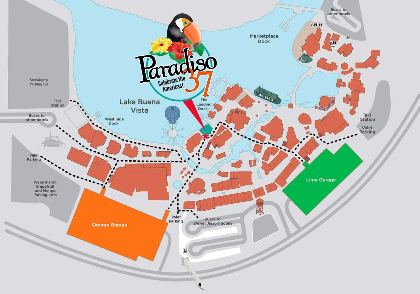 map of Disney Springs to get to Paradiso 37