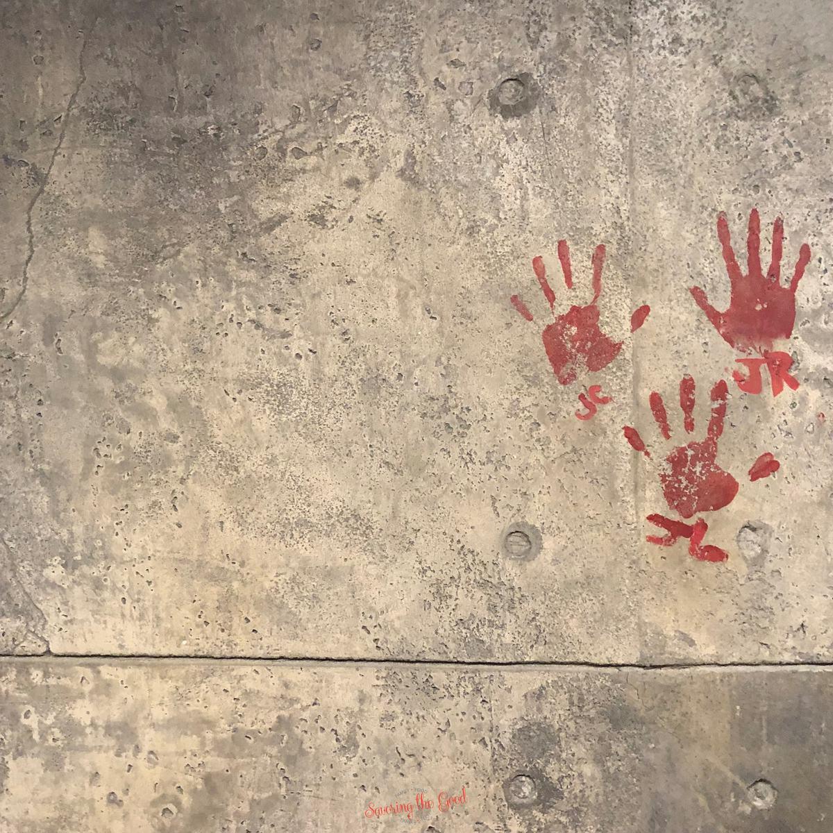 Red handprints and initials of James Cameron, Jon Landau, and Joe Rohde wallpaper for Pandora, Flight Of Passage for Microsoft Teams