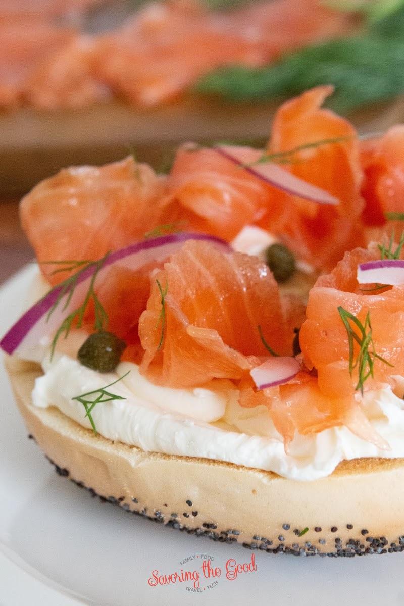 Salmon Lox on a cream cheese bagel
