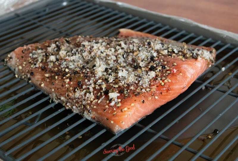 Salmon Lox with salt and spices