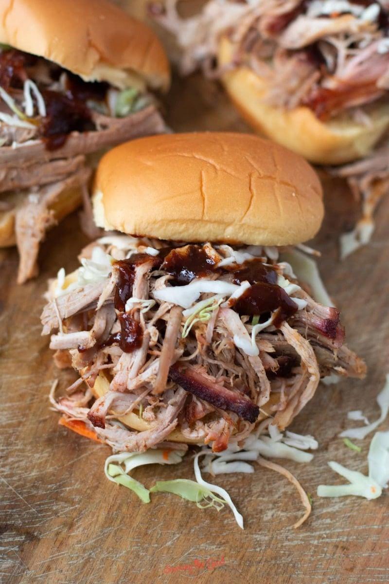 sous vide pulled pork sandwich