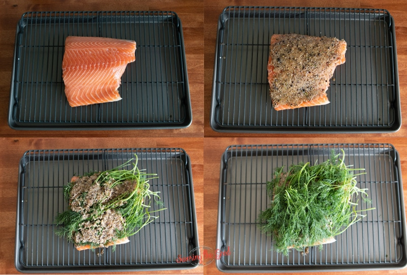 steps of curing salmon, 4 images in a grid