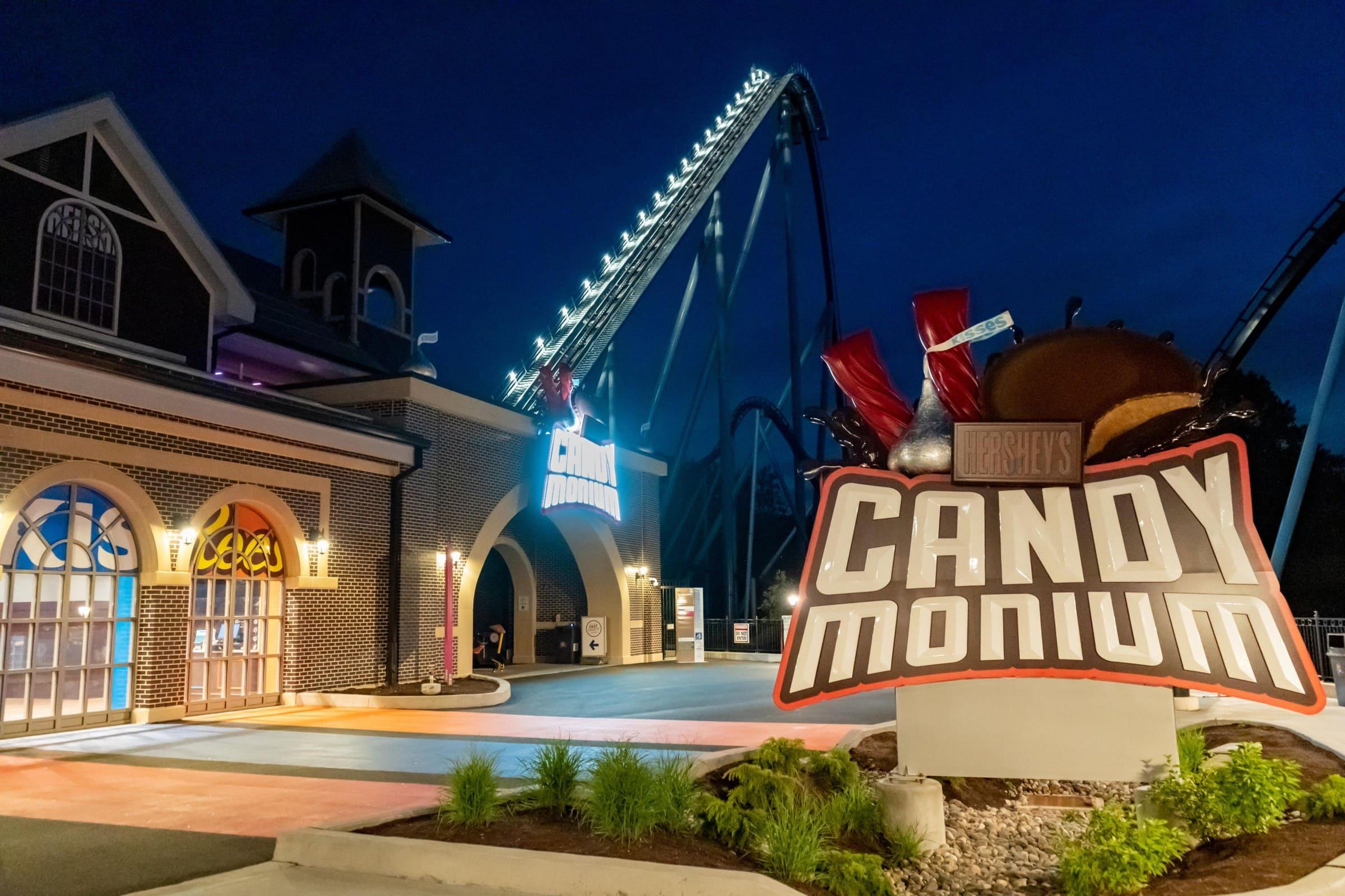 Candymonium Plaza at Night