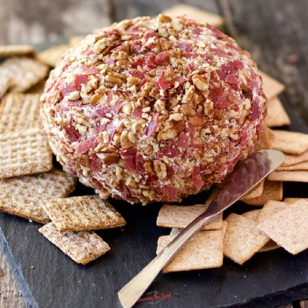 chipped beef cheeseball square image