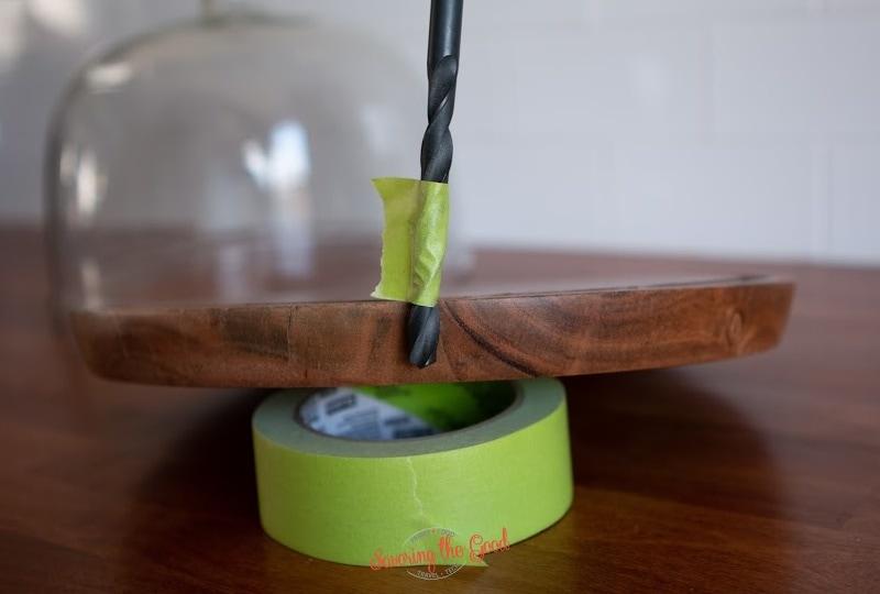 measuring for depth on a DIY Cocktail Smoker.