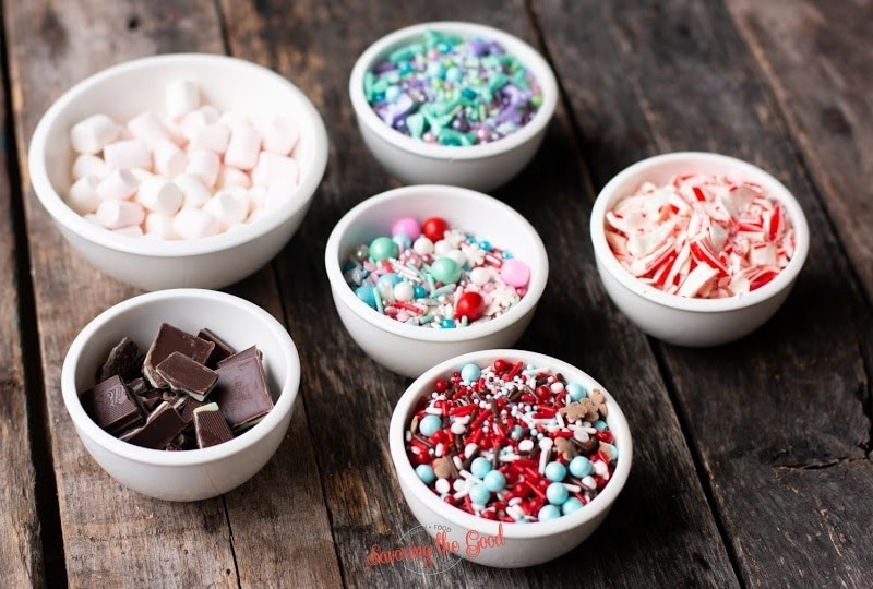 sprinkles in cups for hot chocolate bombs