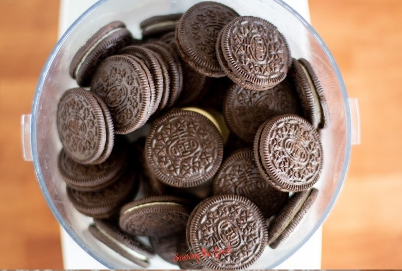 whole oreo cookies in a food processor for OREO Ball Truffles