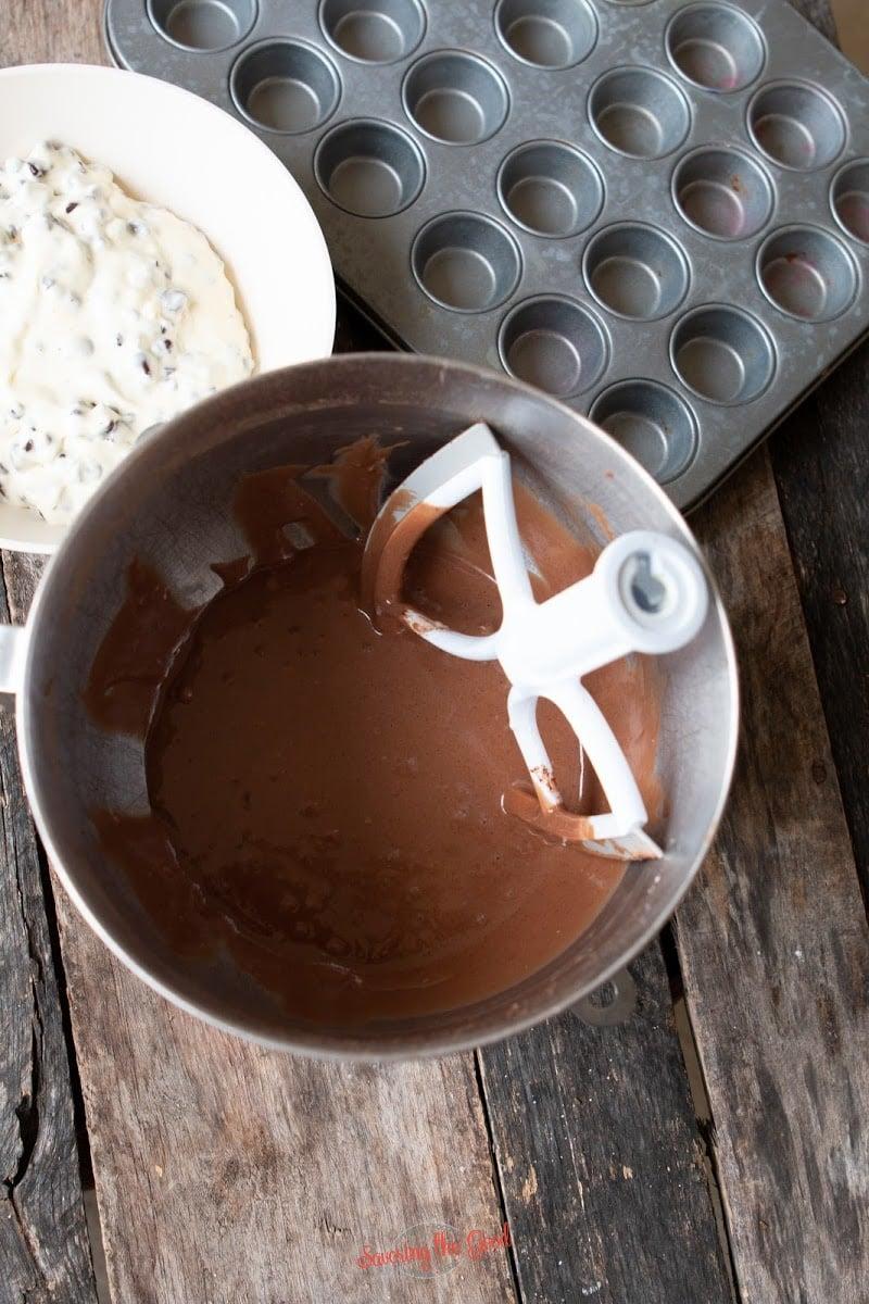 Black Bottom Cupcakes chocolate batter
