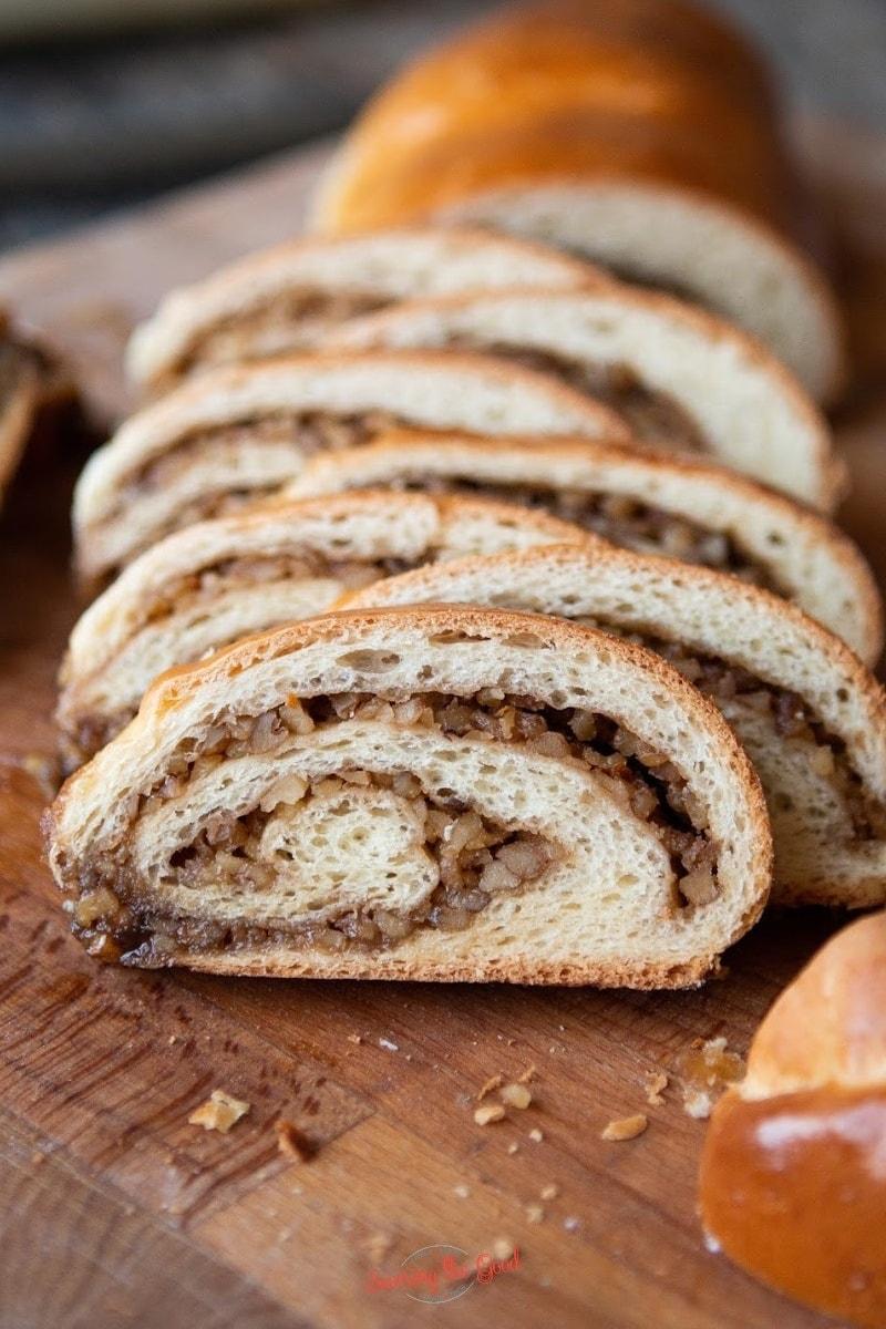 head on image of a slice of nut roll showing swirls