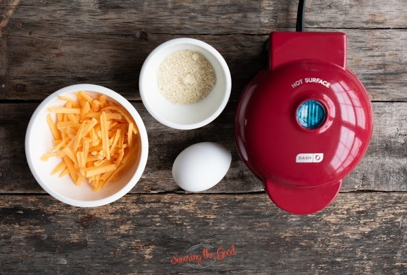 3 ingredients to make Chaffles and a dash mini waffle