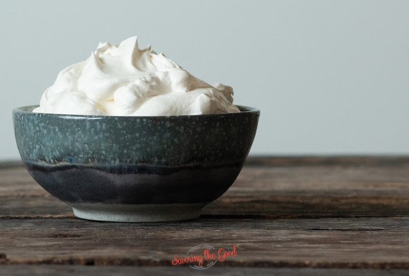 Keto Whipped Cream in a earthenware bowl