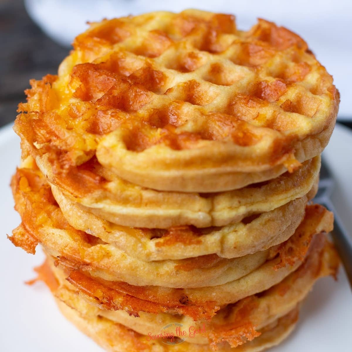 chaffle recipe showing crispy cheesy texture