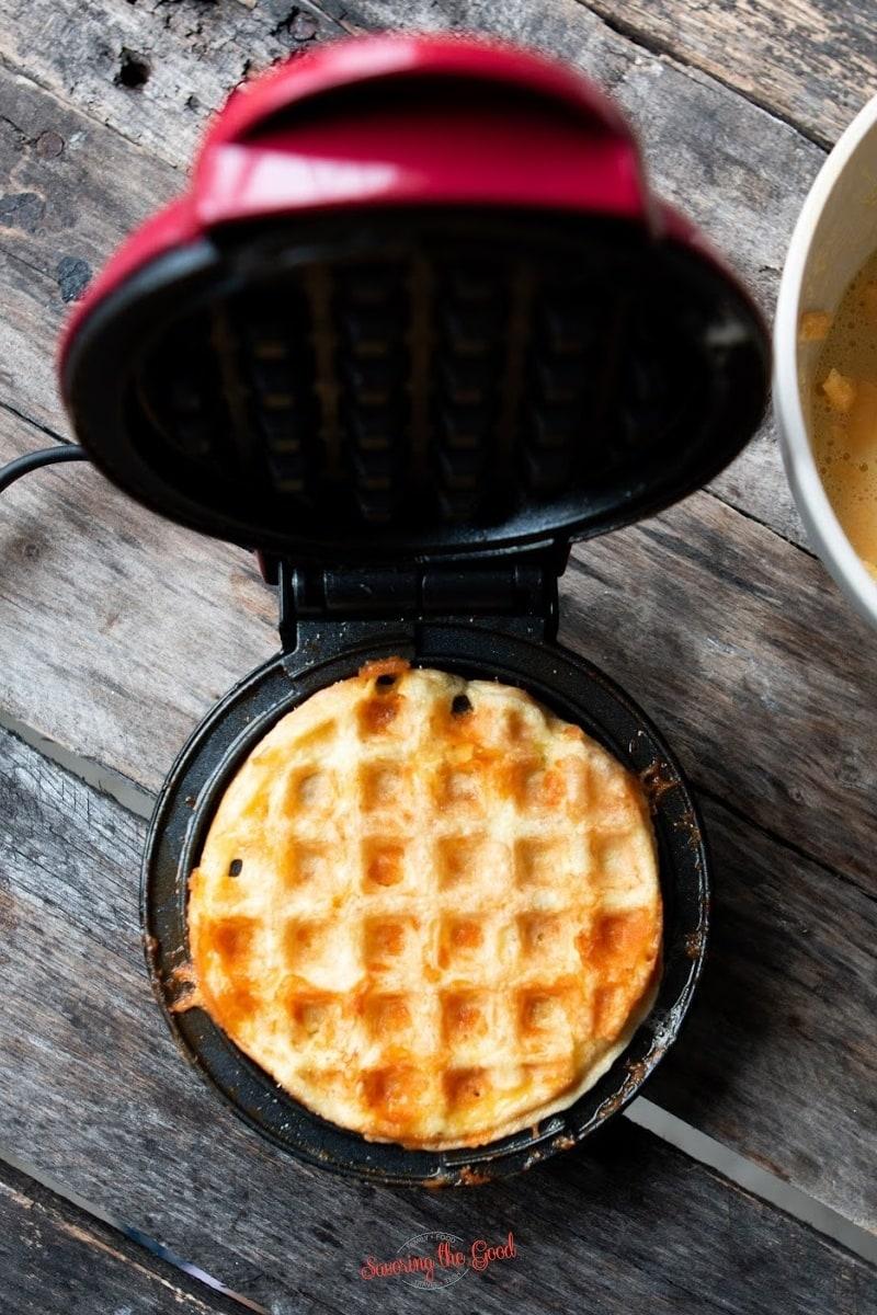 fresh hot Chaffle in a mini waffle maker