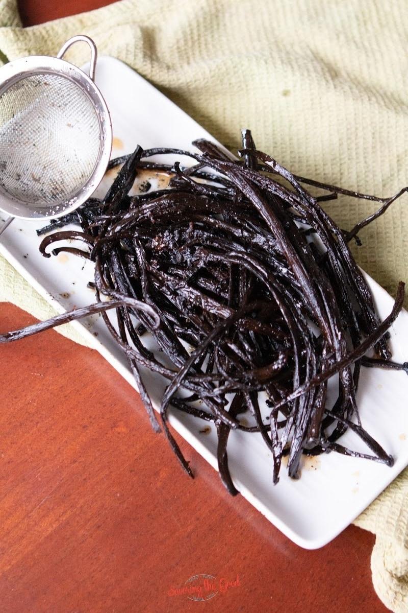 spent split vanilla beans after making vanilla paste