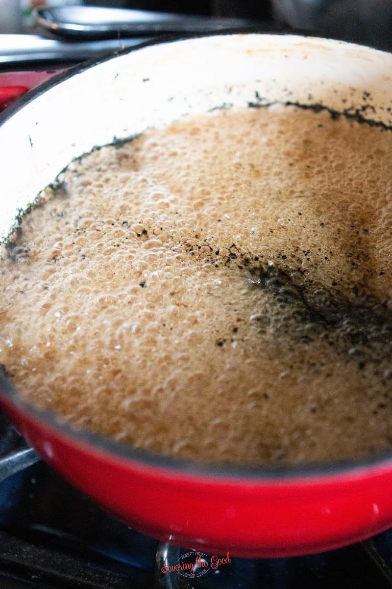 vanilla bean paste boiling in a pan
