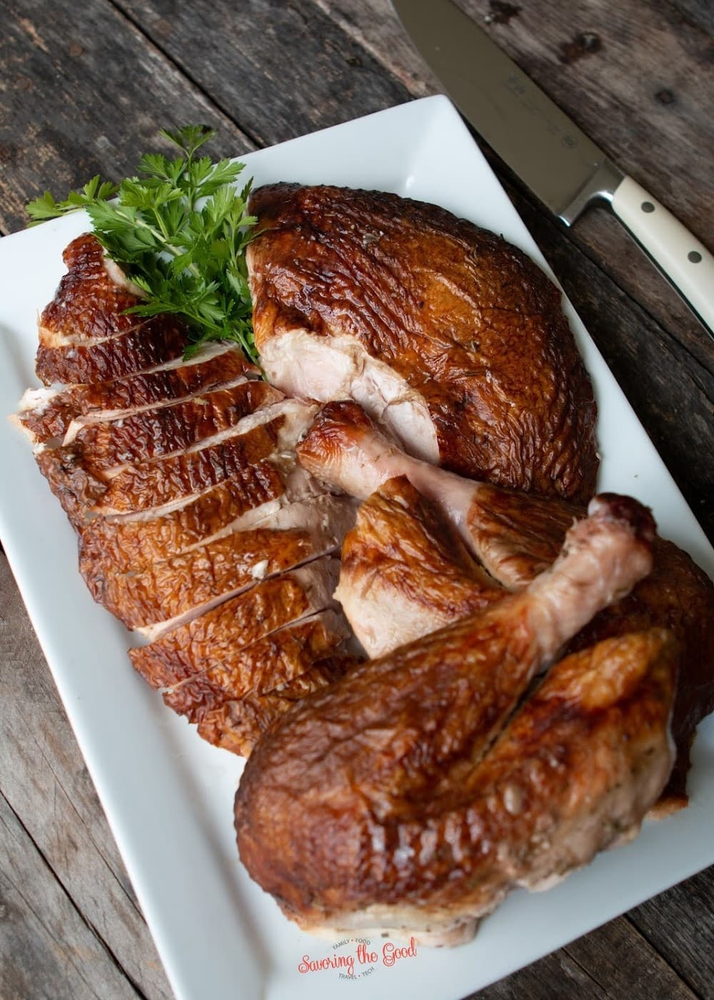 Whole smoked turkey cut into pieces