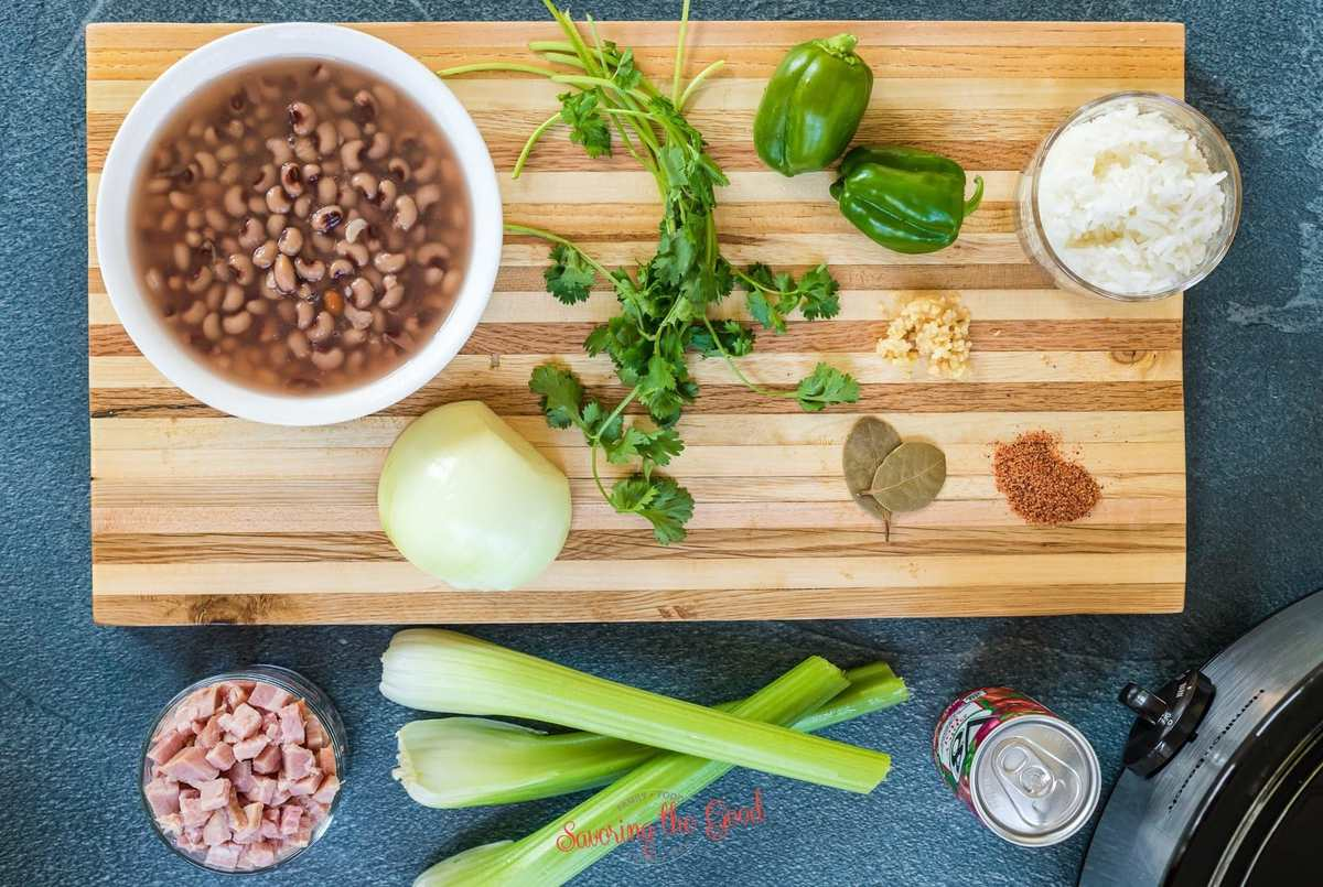 hoppin john ingredients on a cutting board