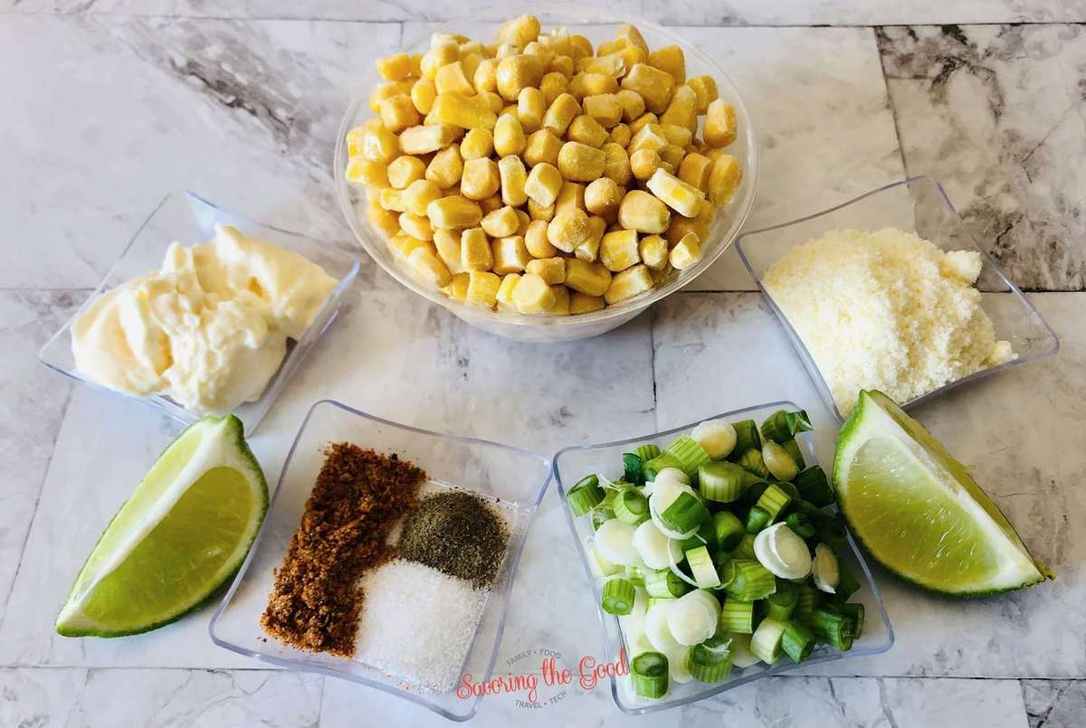 Mexican corn casserole ingredients in bowls