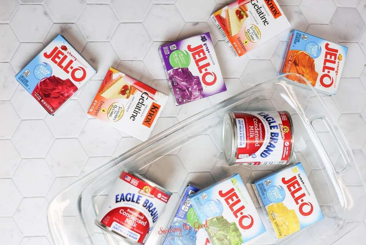 Rainbow Jello ingredients