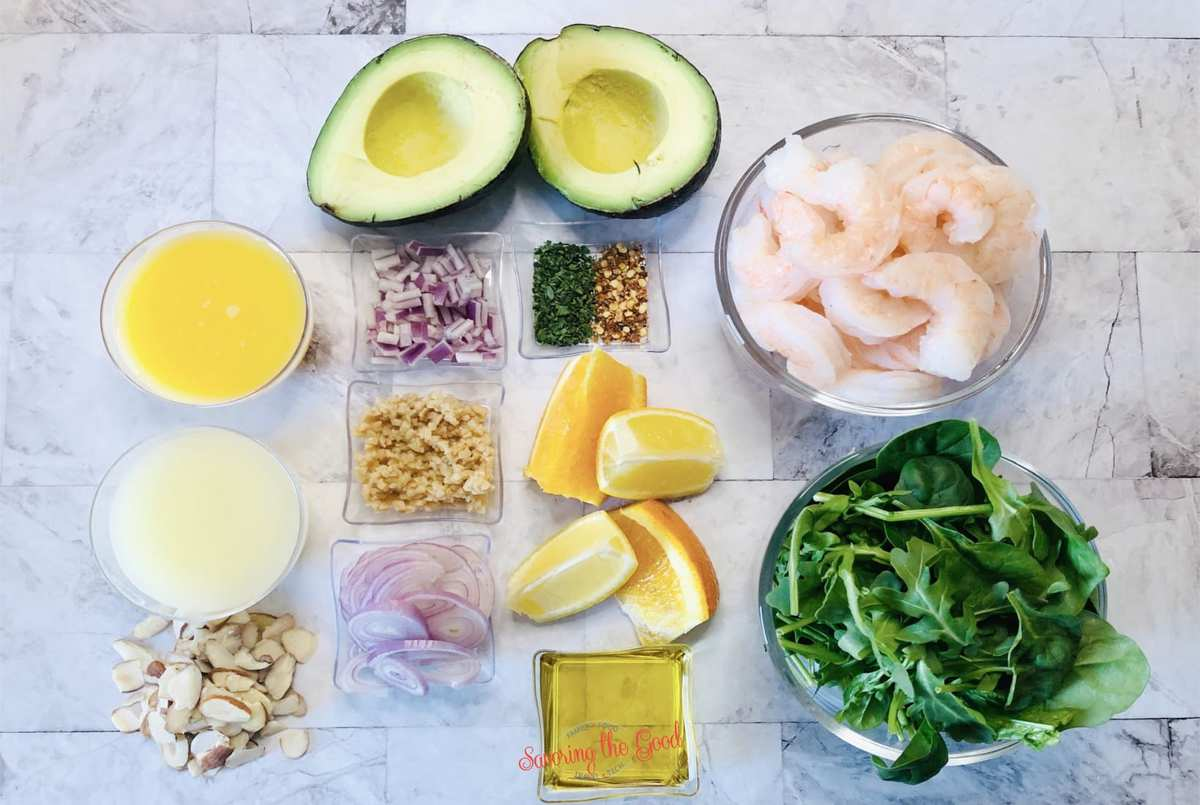 Shrimp Avocado Salad ingredients in containers