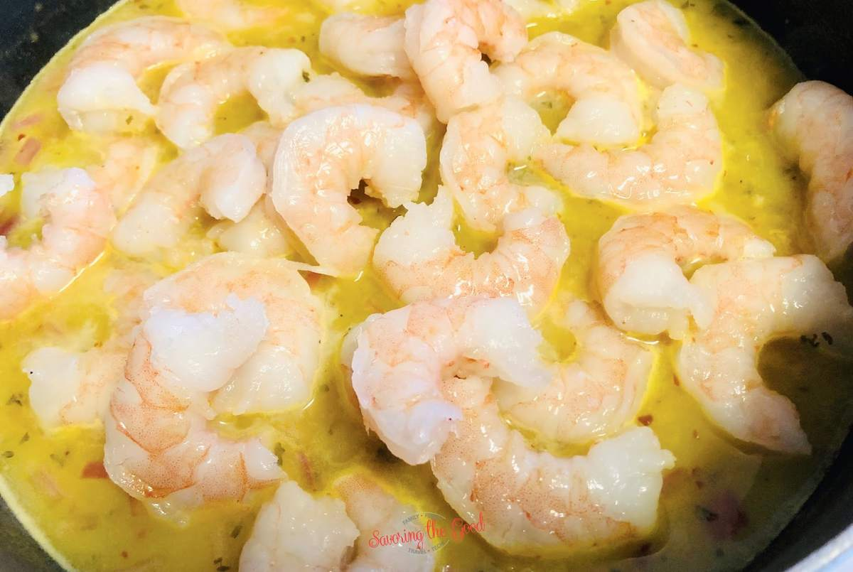 shrimp and dressing in a pan