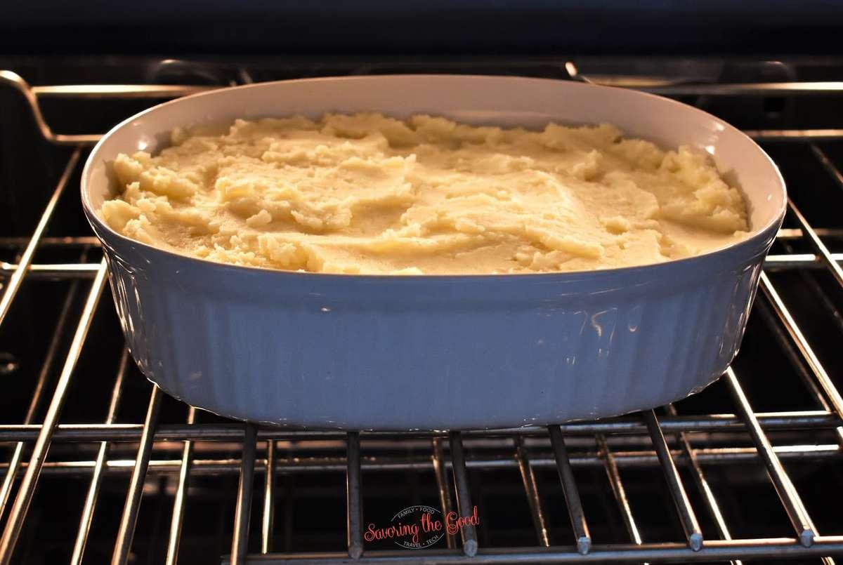 turkey shepherd's Pie in the oven baking