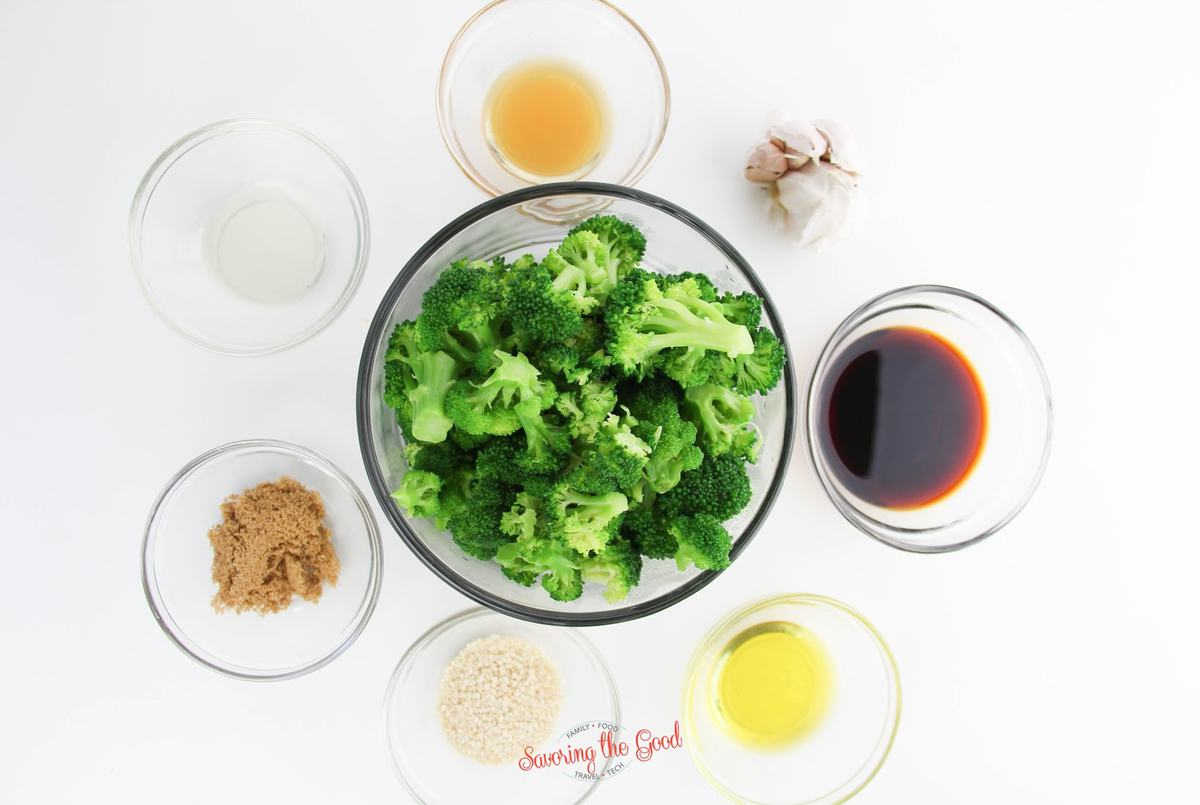 Asian Broccoli ingredients in bowls on a white surface