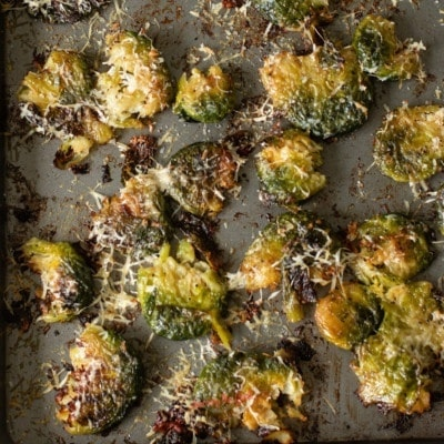 Crispy Brussels Sprouts on a sheetpan square image