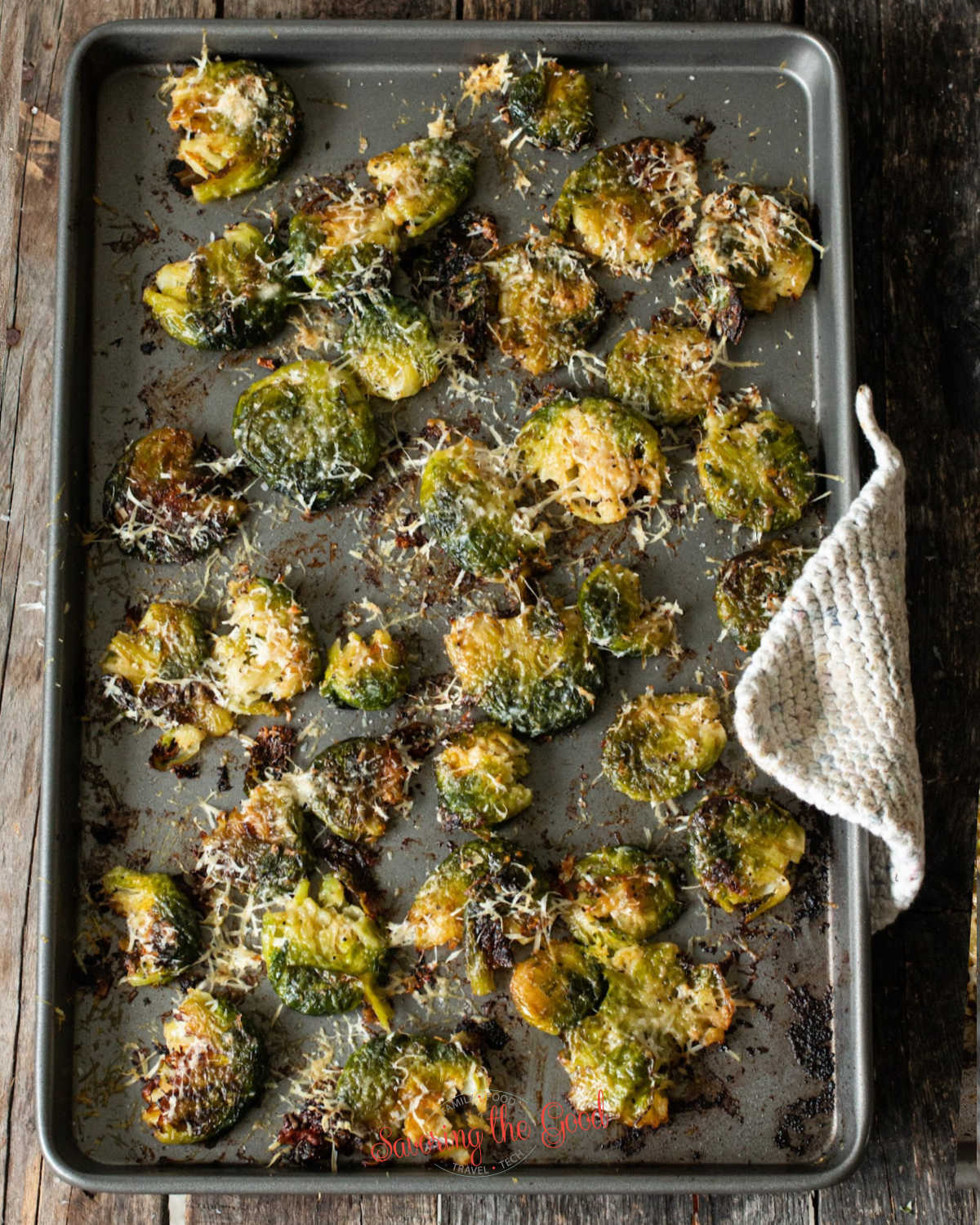 Smashed Brussel Sprouts crisp with parmesean cheese