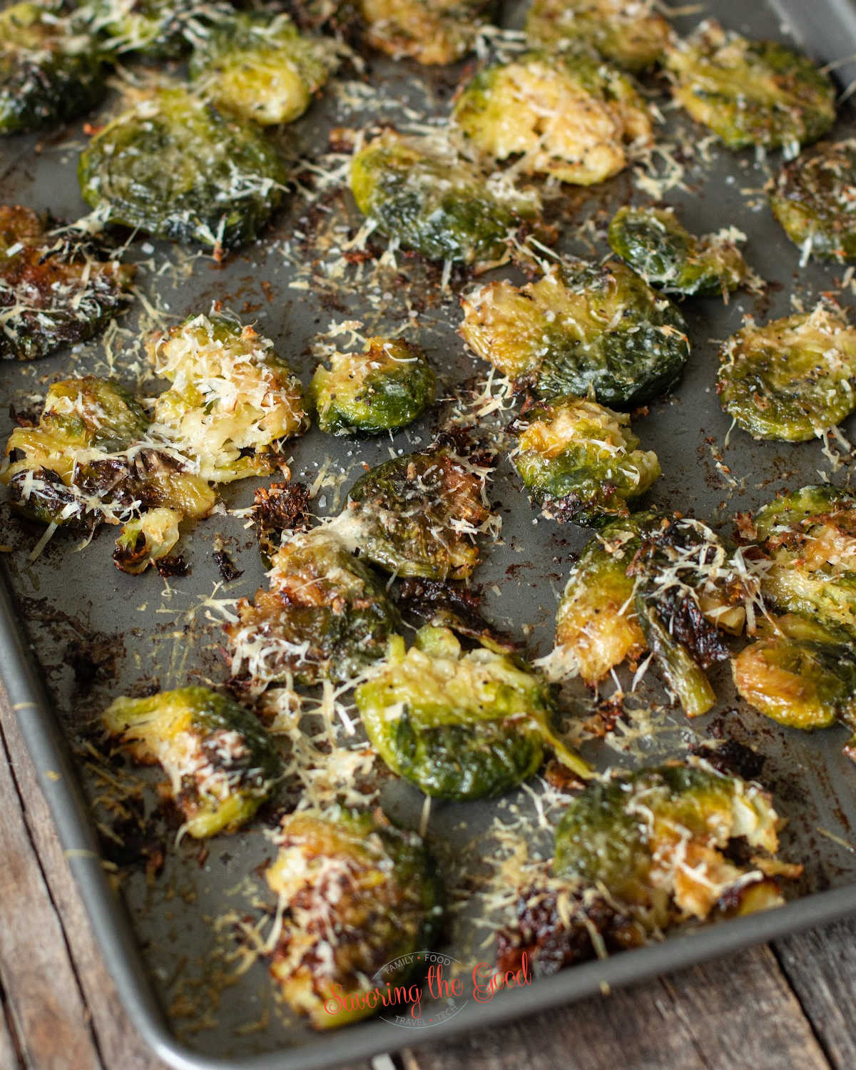 Smashed Brussel Sprouts on a baking sheet
