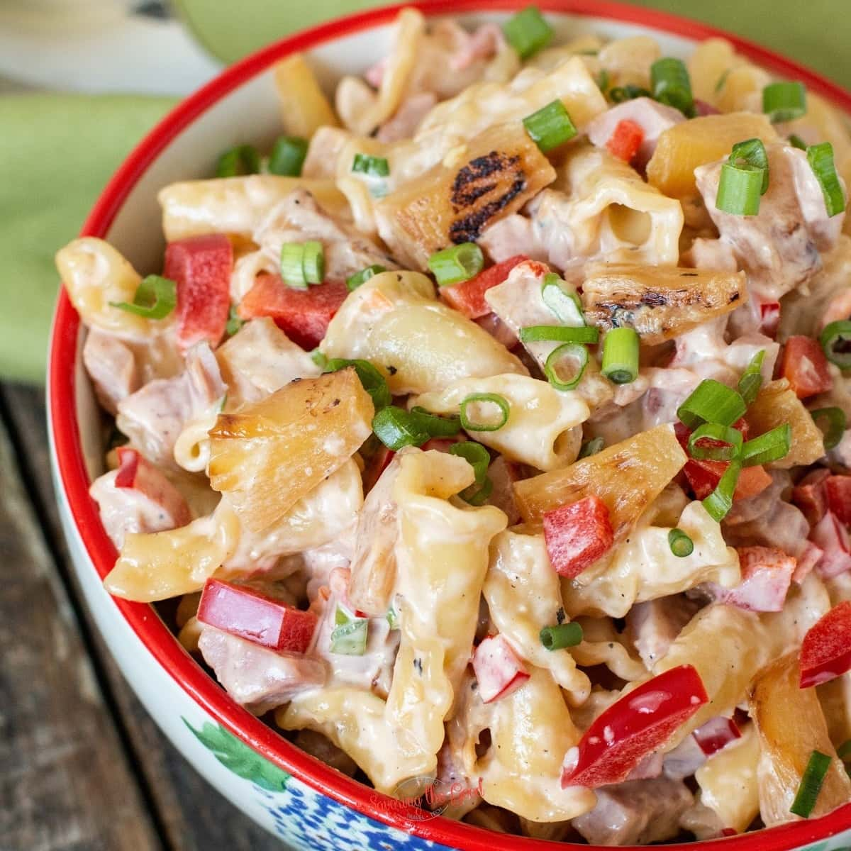 ham and pineapple pasta salad recipe square image