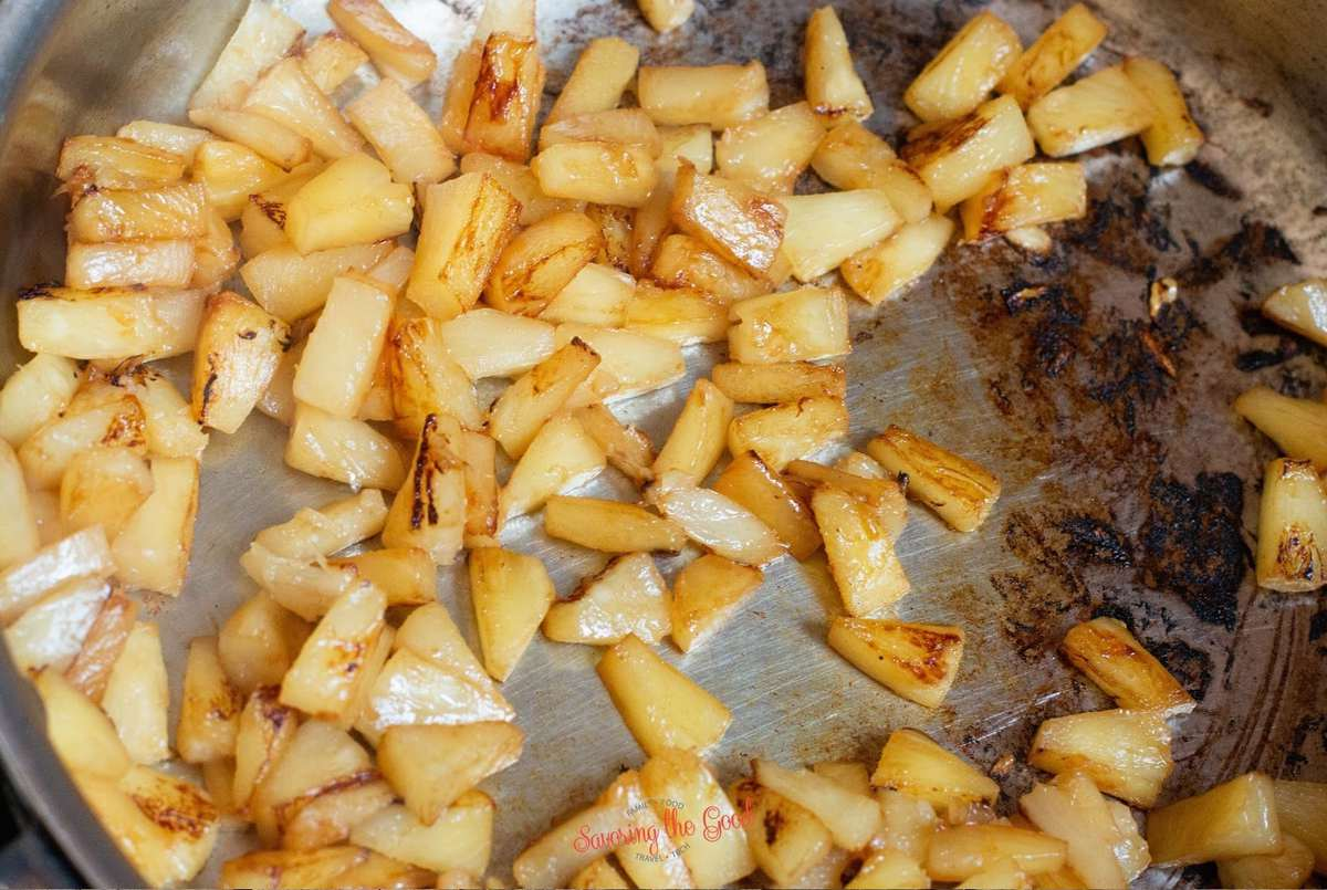 pan grilled pineapple bits