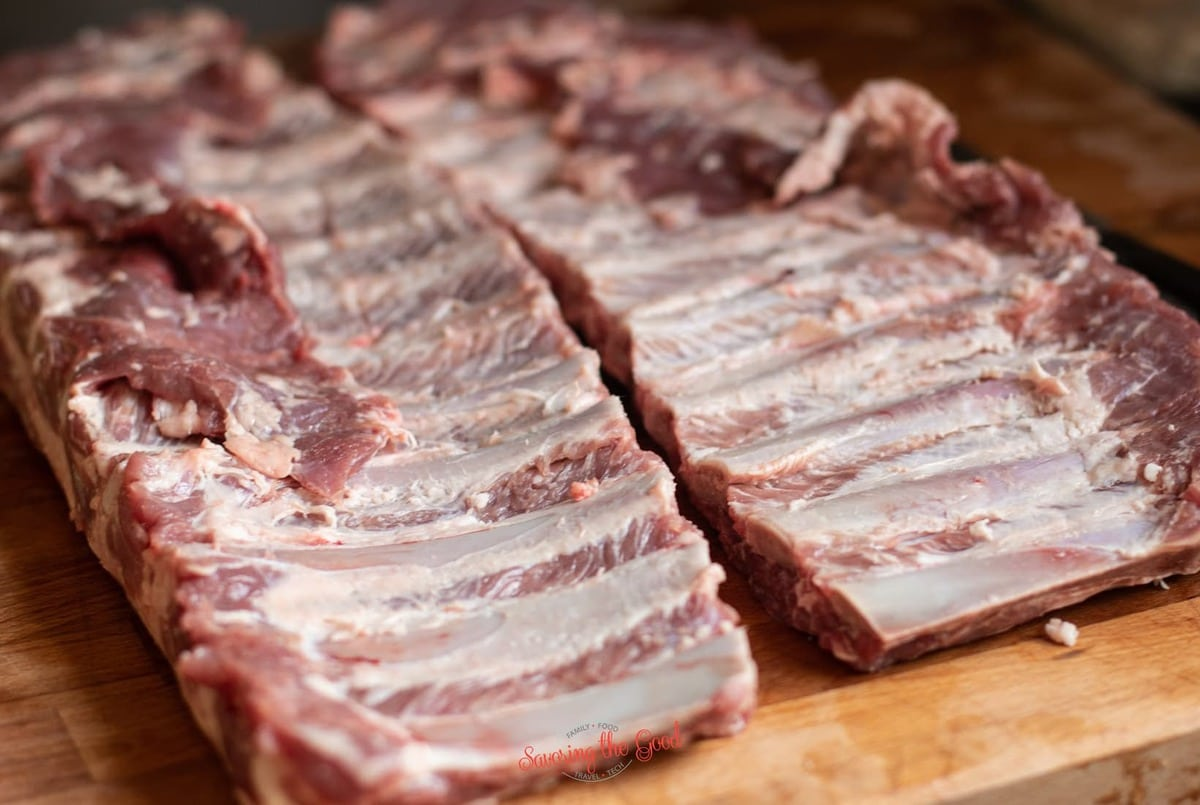 pork ribs with silver skin pulled off horizontal image