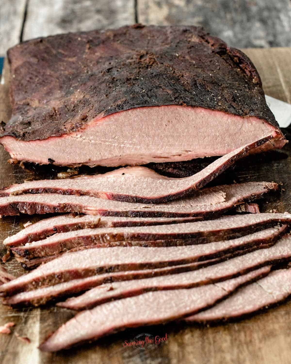 sliced Sous Vide Brisket showing crust and smoke ring