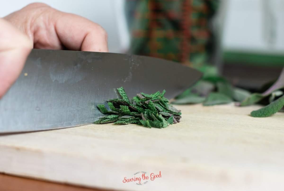 slicing fresh sage