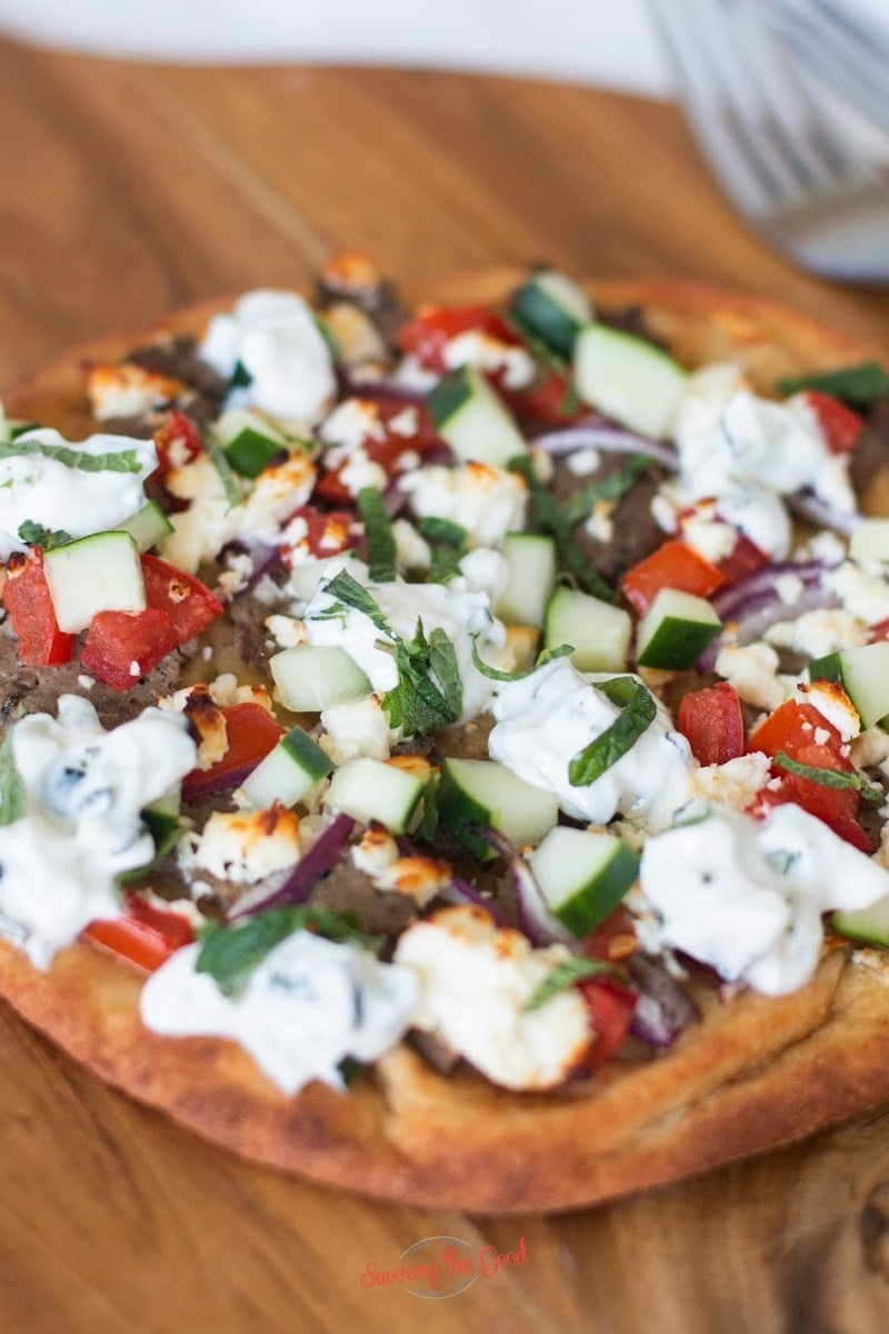tight shot of a gyro pizza showing texture