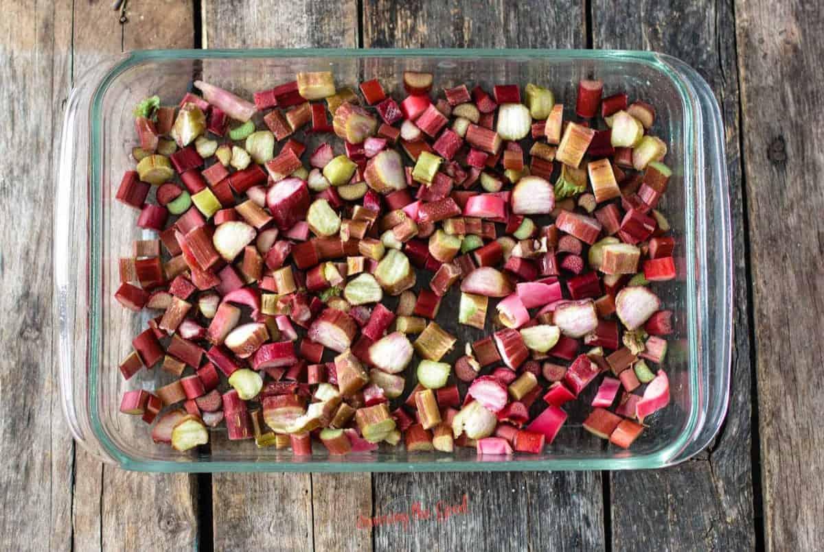 chopped rhubarb in a glass 9x13 pan