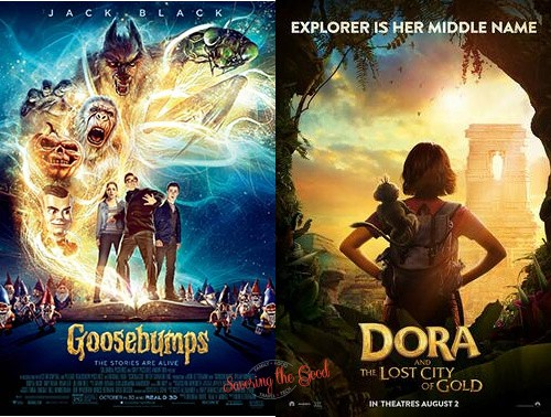 dora and goosebumps movie posters for 2021 regal summer movies